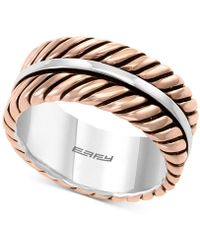 Effy Collection Rope-look Ring In Sterling Silver & 18k Rose Gold-plate - Metallic
