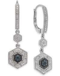 Macy's - Diamond Geometric Drop Earrings (1/10 Ct. T.w.) In Sterling Silver - Lyst