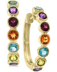 Effy Collection Effy® Multi-gemstone (1-5/8 Ct. T.w.) Hoop Earrings In 14k Gold - Multicolor