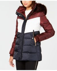 Vince Camuto - Faux-fur-trim Colorblocked Puffer Coat - Lyst