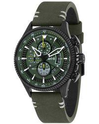 AVI-8 Hawker Hunter Chronograph Avon Edition Green Genuine Leather Strap Watch 45mm