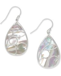 Macy's Mother Of Pearl Caged Teardrop Earrings In Sterling Silver - White