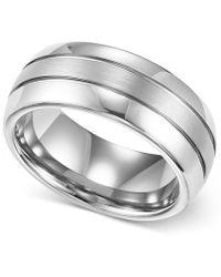 Macy's - Men's Ring, 8mm White Tungsten 3-row Wedding Band - Lyst