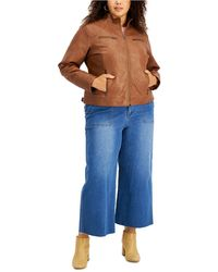 Maralyn & Me Trendy Plus Size Faux-leather Jacket, Created For Macy's - Blue