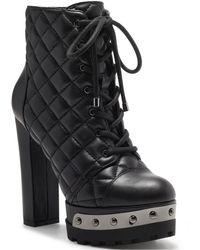 Jessica Simpson Irella High Heeled Platform Lace Up Lug Sole Booties - Black