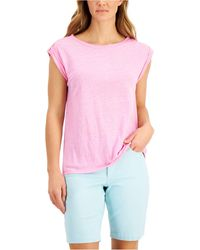 Charter Club Linen Top, Created For Macy's - Multicolor
