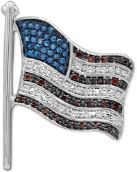 Macy's Diamond Flag Pin (1/4 Ct. T.w.) In Sterling Silver - Metallic