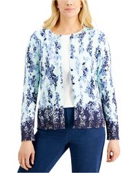 Karen Scott Printed Button-down Cardigan, Created For Macy's - Blue