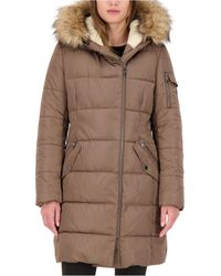 Vince Camuto Faux-fur-trim Hooded Asymmetrical Puffer Coat, Created For Macy's - Brown