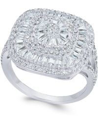 Macy's - Cubic Zirconia Square Cluster Ring In Sterling Silver - Lyst