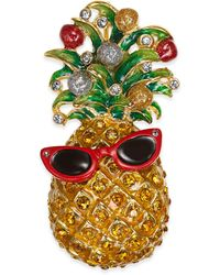 Charter Club Holiday Lane Gold-tone Crystal Pineapple Pin, Created For Macy's - Metallic