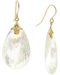 Macy's Mother-of-pearl Drop Earrings In 10k Gold - Metallic