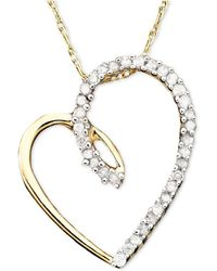 Macy's - Diamond Heart Pendant Necklace In 14k Gold (1/10 Ct. T.w.) - Lyst