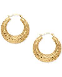 Macy's - Textured Hoop Earrings In 14k Gold - Lyst