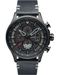 AVI-8 Hawker Hunter Black Genuine Leather Strap Watch, 45mm