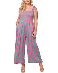Jessica Simpson Plus Size Romie Ruched Jumpsuit - Multicolor