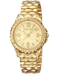 9a84e49444dc6 Roberto Cavalli Swiss Quartz Gold Stainless Steel Bracelet Gold Dial Watch,  34mm - Metallic