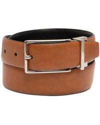 Alfani Reversible Faux-leather Belt, Created For Macy's - Natural