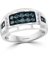 Effy Blue Diamond (5/8 Ct. T.w.) & White Diamond (1/10 Ct. T.w.) Ring In 14k White Gold