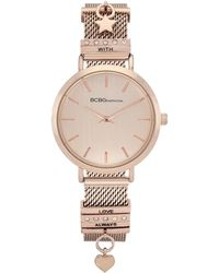 BCBGeneration Ladies 2 Hands Slim Rose Gold-tone Mesh Watch, 34 Mm Case - Pink