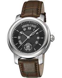 Roberto Cavalli - Swiss Quartz Brown Calfskin Leather Strap Watch, 43mm - Lyst