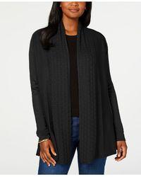 Karen Scott Open-front Cardigan, Created For Macy's - Black