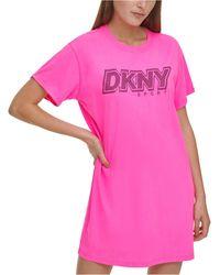 DKNY Sport Cotton Rhinestone Logo T-shirt Dress - Pink