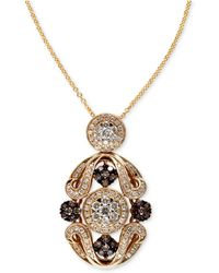 Effy Collection - Espresso By Effy Brown (1/3 Ct. T.w.) And White Diamond (5/8 Ct. T.w.) Ornate Pendant In 14k Gold - Lyst