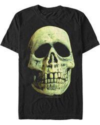 Fifth Sun Skeleton Mask Big Face Costume Short Sleeve T-shirt - Black