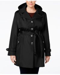 CALVIN KLEIN 205W39NYC - Plus Size Hooded Single-breasted Trench Coat - Lyst