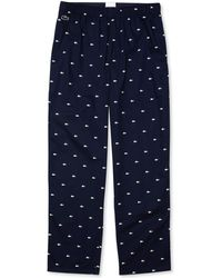 Lacoste Crocodile-print Cotton Pajama Pants - Blue