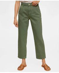 Mango Cropped Darts Jeans - Green