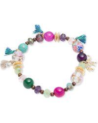 Lonna & Lilly - Gold-tone Multi-bead Tassel Stretch Bracelet - Lyst