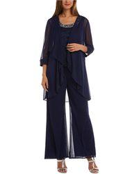 R & M Richards 3-pc. Embellished Pantsuit - Blue