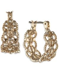 "Marchesa Gold-tone Small Pavé Lace Hoop Earrings, 0.62"" - Metallic"