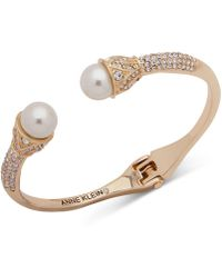 Anne Klein - Gold-tone Crystal & Imitation Pearl Cuff Bracelet, Created For Macy's - Lyst
