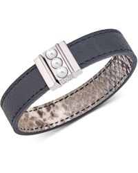 Majorica - Silver-tone Imitation Pearl Reversible Leather Bracelet - Lyst