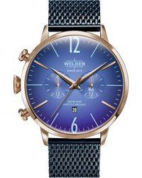 Welder Blue Stainless Steel Mesh Bracelet Watch 45mm
