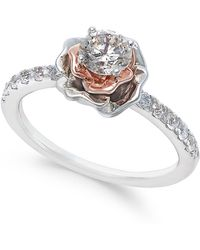 Macy's Diamond Bouquet Engagement Ring (3/4 Ct. T.w.) In 14k White And Rose Gold - Multicolour