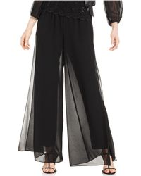 Alex Evenings - Pants, Wide-leg Chiffon - Lyst