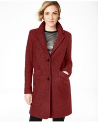 Marc New York Paige Bouclé Coat - Red