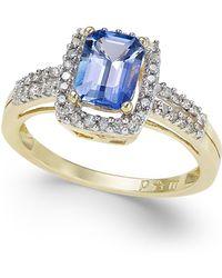 Macy's - Tanzanite (7/8 Ct. T.w.) And Diamond (1/5 Ct. T.w.) Ring In 14k Gold - Lyst