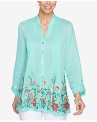 Ruby Rd. Plus Size Embroidered Tunic - Green