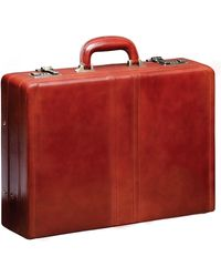 Mancini Signature Collection Luxurious Expandable Attache Case - Brown