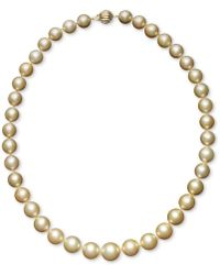 """Macy's - Pearl Necklace, 18"""" 14k Gold Cultured Golden South Sea Pearl Graduated Strand (10-12-1/2mm) - Lyst"""