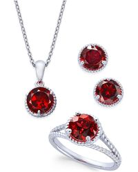 Macy's - Rhodolite Garnet Rope-style Pendant Necklace, Stud Earrings And Ring Set (5 Ct. T.w.) In Sterling Silver - Lyst