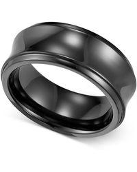 Triton Black Titanium Ring, Concave Wedding Band (8mm) - Multicolor