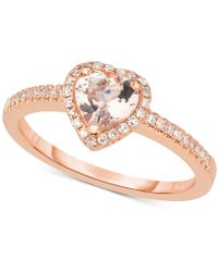 Macy's - Morganite (5/8 Ct. T.w.) & Diamond (1/6 Ct. T.w.) Ring In 14k Rose Gold - Lyst