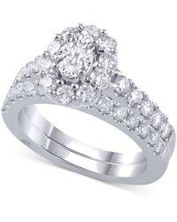 Marchesa Diamond Oval Halo Bridal Set (2 Ct. T.w.) In 18k White Gold - Metallic