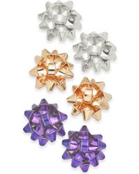 Charter Club - Tri-tone 3-pc. Set Gift Bow Stud Earrings, Created For Macy's - Lyst